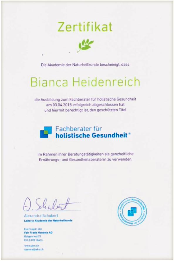 Zertifikat Fachberater für holistische Gesundheit Ernährungs- und ...